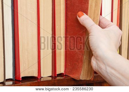 Female Hand Is Taking An Old Book From The Bookshelf. Many Hardback Books On Wooden Shelf. Library C