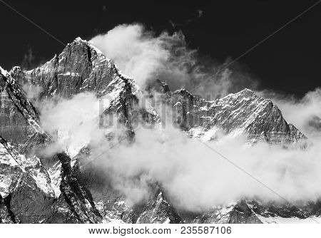 Mount Lhotse With Clouds On The Top - Way To Mount Everest Base Camp, Khumbu Valley, Sagarmatha Nati