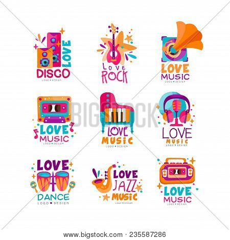 Set Of Bright Music Logos With Musical Instruments, Cassette, Tape Recorder, Gramophone And Subwoofe
