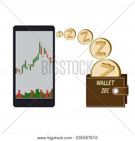 Transfer Zcash Coins In The Electronic Wallet, Buying And Transfer Of Zcash To Wallet On A White Bac