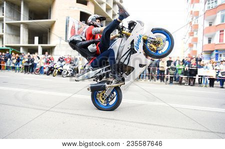 Ivano-frankivsk, Ukraine - 15 May 2017: Young Man Is Practicing Extreme Motorcycle Riding On A Motor