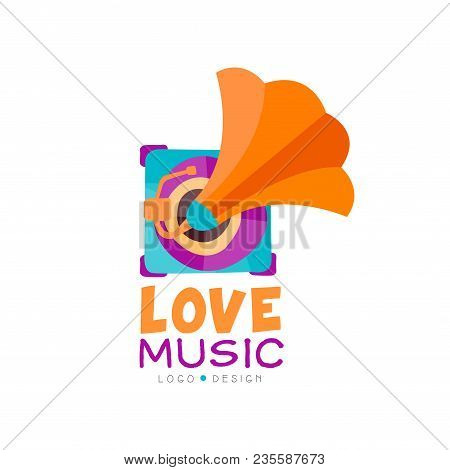 Bright Music Logo Design With Gramophone. Old School Vinyl Recorder. Graphic Emblem For Mobile App,