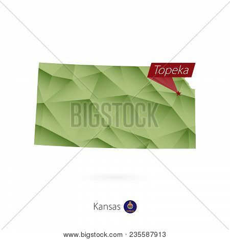 Green Gradient Low Poly Map Of Kansas With Capital Topeka