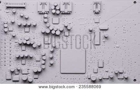Neutral Gray Background: Printed Circuit Board With Microprocessor, Microcircuits And Other Elements