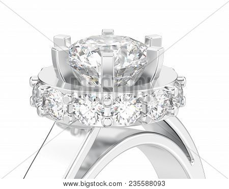 3D illustration isolated close up white gold or silver halo bezel pave diamond ring on a white background poster