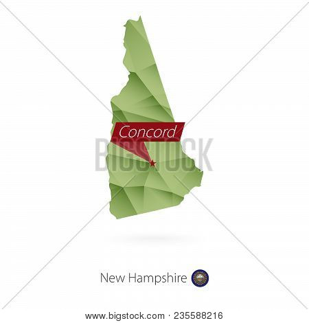 Green Gradient Low Poly Map Of New Hampshire With Capital Concord