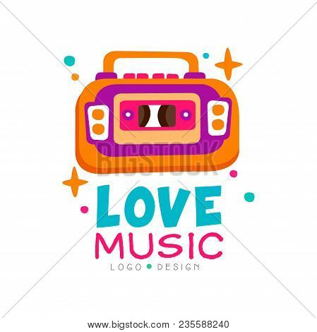 Creative Music Logo With Bright-colored Tape Recorder. Original Vector Emblem. Graphic Design For Re
