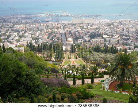Haifa Israel - July 5, 2016 : View of downtown Haifa and Haifa harbor and bay, from Mount Carmel