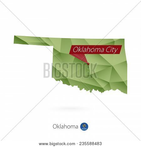 Green Gradient Low Poly Map Of Oklahoma With Capital Oklahoma City