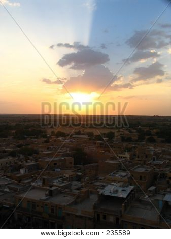 Town Covered By Dusk
