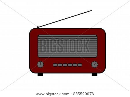 Old And Retro Style Radio. Flat Style Vector Drawing. Dark Red Radio Icon And Symbol.