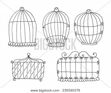 Hand Drawn Set With Vintage Bird Cage. Vector Print.