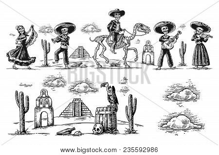 The Skeleton In Mexican National Costumes Dance, Praying, Galloping On Horse, Play The Guitar, Violi
