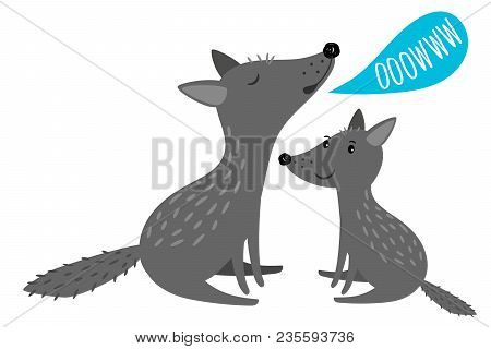 Two Cartoon Grey Wolves With Ooowww Speach Bubble, Vector Illustration