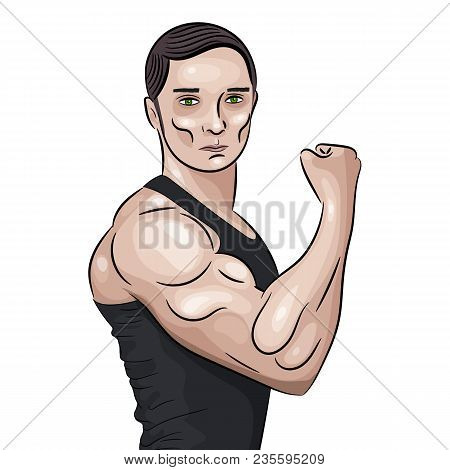 Bodybuilder In Front Double Biceps Pose.
