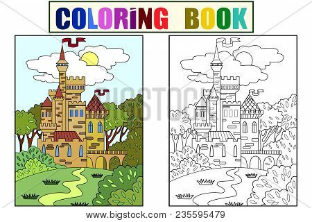 Child Colored Picture Castle In The Forest. The Building Is Made Of Bricks In More Often. The Fiftee
