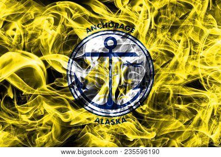 Anchorage City Smoke Flag, Alaska State, United States Of America