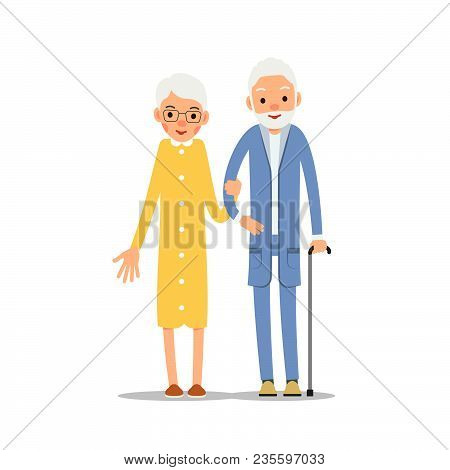 Old Couple. Two Aged People Stand. Elderly Man And Woman Stand Together And Hug Each Other. Illustra