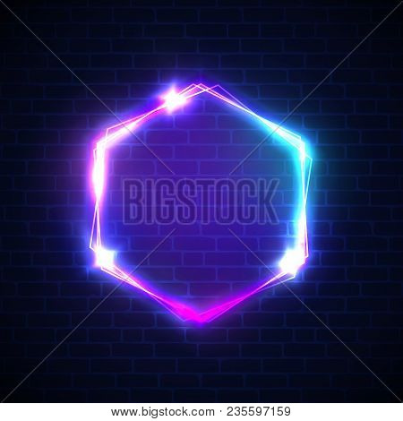 Glowing Sign With Neon Lights On Dark Brick Wall Background. 3d Hexagon Light Advertising Banner Wit