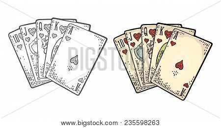 Royal Flush In Hearts. Playing Cards Poker. Vector Black And Color Vintage Engraving Illustration Fo