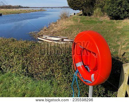 Life Buoy On The River Bann Near Lough Neagh