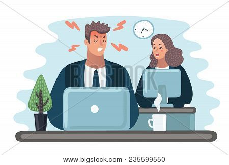 Vector Cartoon Illustration Of Angry Boss. Manager Is Hiding. Office Life. Businessman At Desktop At