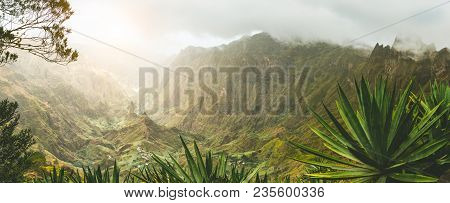 Agava Plants And Rocky Mountains In Xoxo Valley In Santo Antao Island, Cape Verde. Panoramic Shot.
