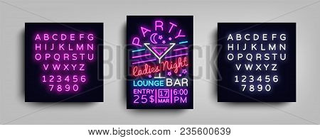 Cocktail Party Poster Neon. Flyer Template Design In Neon Style. Ladies Night Cocktail Party Dance I