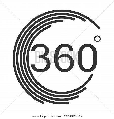 360 Degrees Angle Icon On White Background. Flat Style. 360 Degrees Angle Sign.