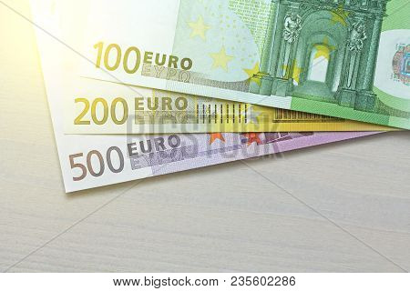 Euro. Paper Banknotes Of Euro Of Different Denominations - 100, 200 And 500 Euro.