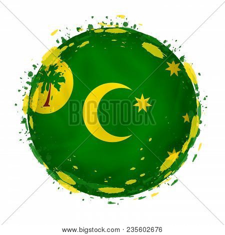 Round Grunge Flag Of Cocos Islands With Splashes In Flag Color. Vector Illustration.