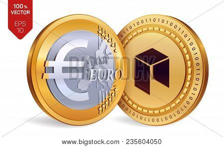 Neo. Euro. 3d Isometric Physical Coins. Digital Currency. Cryptocurrency. Golden Coins With Neo And
