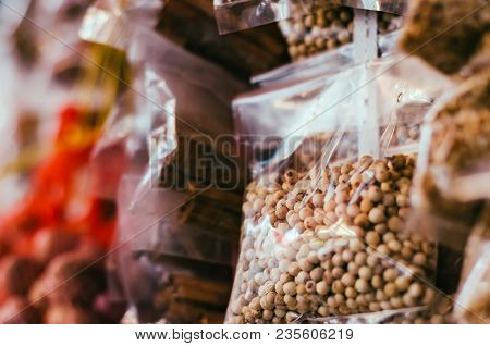 Closed Up Image Of White Peppers Packed In Transparent Plastic Bag