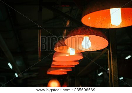 Light Lamps Hanging From The Ceiling.selective Focus Shot  And Image Might Contain Grain And Noise