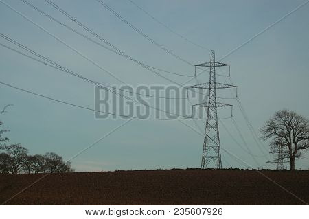 Perth, Scotland - April 10th 2017: A Pylon, Part Of The Controversial Beauly To Denny Power Line, Ri