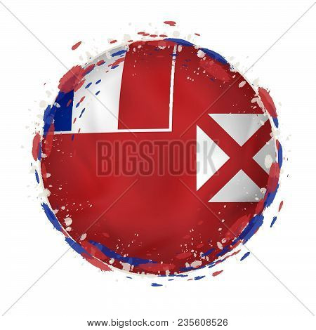 Round Grunge Flag Of Wallis And Futuna With Splashes In Flag Color. Vector Illustration.