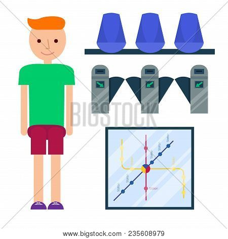 Metro Station Vector Illustration. Transportation Modern Railroad Trip Transit Tunnel Vehicle Servic