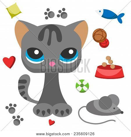 Cat And Mouse Cute Kitty Pet Cartoon Cute Animal Character Illustration. Mammal Human Friend Cat Bre
