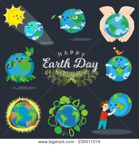 Earth Day, Happy Boy Hugging Planet, Ecology Concept Of Love The World, Green And Blue Globe Protect