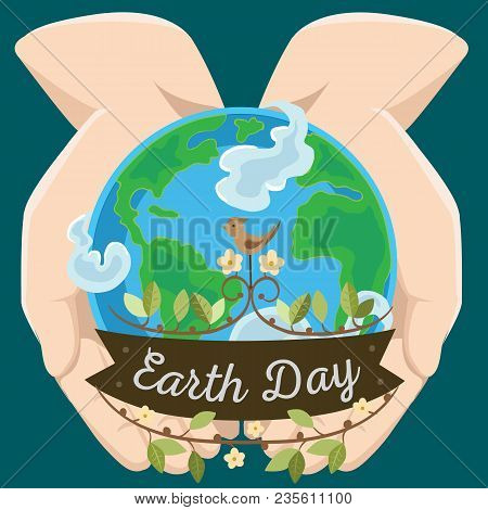 Earth Day, Happy Planet Surrounded By Clouds In Hands Of Man, Globe On Open Palms, Ecology World Con
