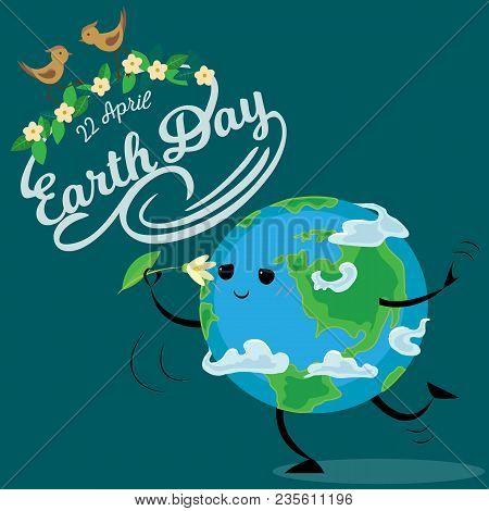 Earth Day, Happy Sun Heats Earth With Its Yellow Warm Rays, Ecology Concept Of Love The World, Green