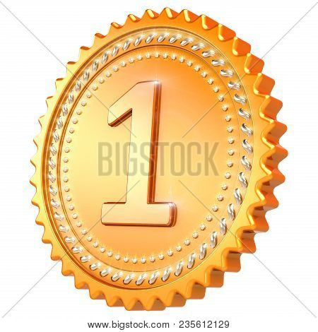 Medal Award Golden First Place Winner. Number One Champion Success Icon. 3d Illustration Isolated On