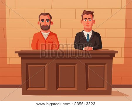 Serious Lawyer Sits By The Table In Courthouse With Defendant. Cartoon Vector Illustration. Characte