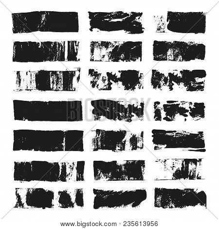 Big Set Of Rectangular Text Box. Grunge Paint Stripe. Vector Brush Stroke. Black Grunge Spots With P