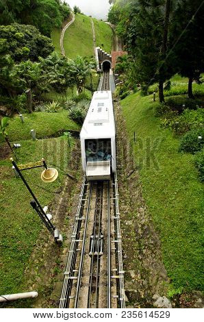 Penang Hill Train,most Iconic Transport At Penang Hill, Malaysia Climbing The Hill