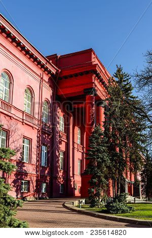 Kyiv, Ukraine - April 8, 2018: Entrance To The Main Red Building Of The Kyiv National Taras Shevchen