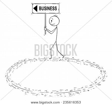 Cartoon Stick Man Drawing Conceptual Illustration Of Frustrated Businessman Holding Business And Arr