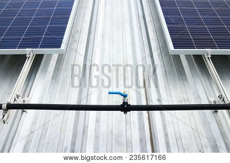 Water Hose Bib For Solar Panel Cleaning On Metal Sheet Roof