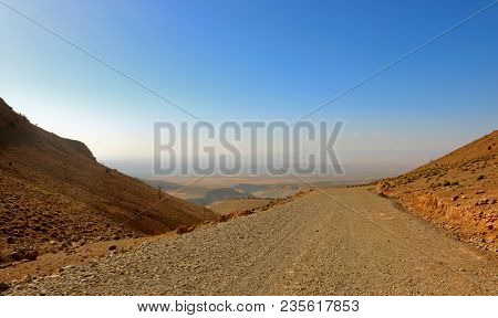 atlas mountains in morocco, view to the valley
