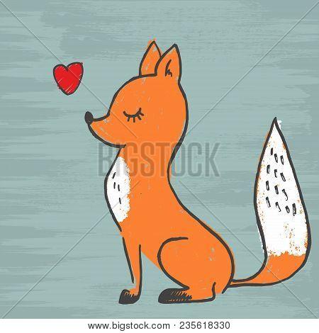 Cute Fox Adorable Cartoon Vector Illustration. Vector Image Of A Fox Design, Wild Animals.